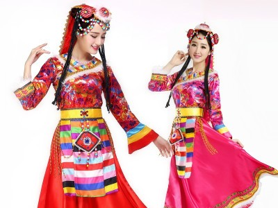 新款藏族舞蹈演出服装女少数民族服装