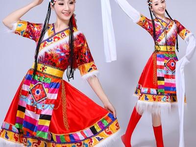 新款藏族舞蹈演出服装女少数民族服装舞台装