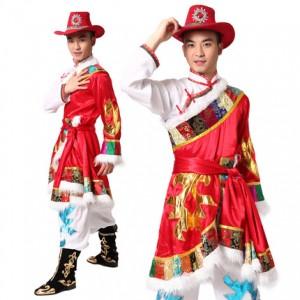 男士红色藏族舞蹈服装