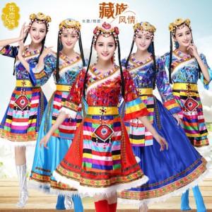 藏族舞蹈演出服装女少数民族服装