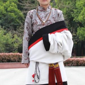 藏袍传统藏袍藏族服饰男士长袖上衣袍子正宗藏装西藏火