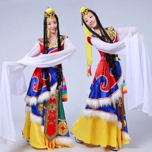 新款藏族舞蹈演出服装女水袖