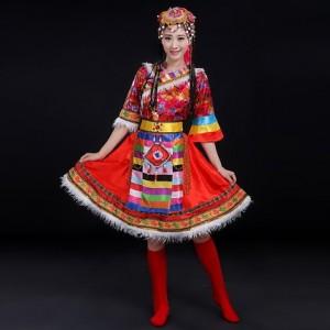 藏族舞蹈演出服2018新款春少数民族服装