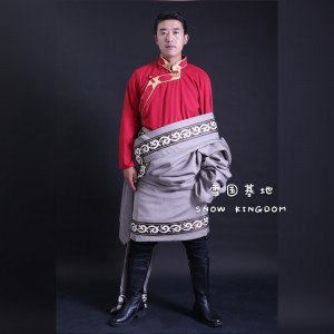 西藏男士加彩边纯色布料