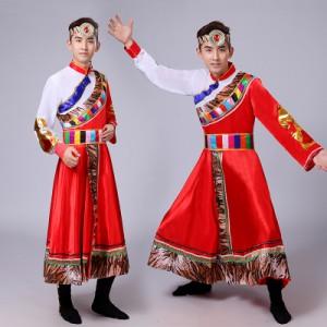 男士藏族舞蹈服装西藏少数民族演出服