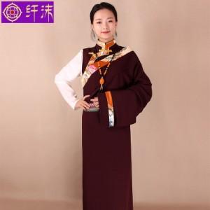 藏袍女西藏民族服装藏族锦缎花边藏装