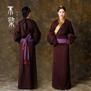 暗红毛呢复古衣服女藏袍西藏特色服装拉萨藏族服