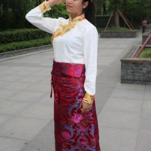 女式半身裹裙多色带假双袖