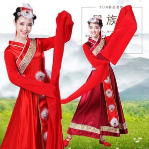 藏族舞蹈演出服装女西藏卓玛水袖