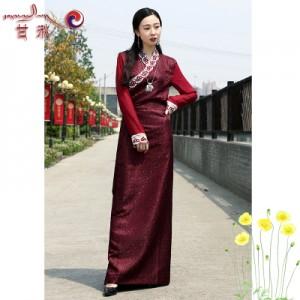 女新款上衣西藏服装拉萨服民族风蕾丝袖花边藏族服装长裙