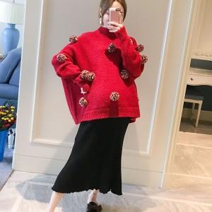 孕妇秋冬装套装短款宽松加厚毛衣针织